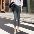 Washed Asymmetrical Cropped Skinny Jeans