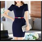 Short-sleeve Peplum Formal Dress