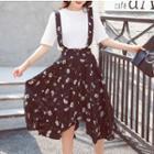 Floral Print Suspender Chiffon Skirt