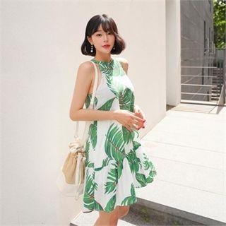 Halter-neck Sleeveless Foliage Mini Dress