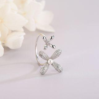 925 Sterling Silver Rhinestone Flower Open Ring Rs519 - Silver - One Size