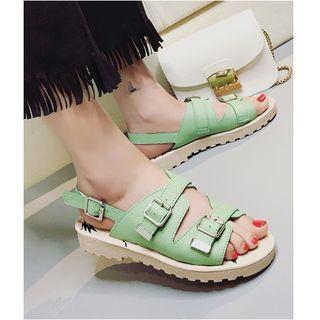 Buckled Slingback Flat Sandals