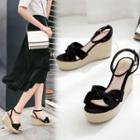 Tie Knot Accent Espadrille Wedge Sandals