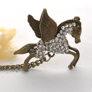 Crystal Flying Horse Brooch  Copper - One Size