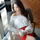 Off-shoulder Frilled Lace Top