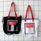 Letter Piped Canvas Shoulder Bag