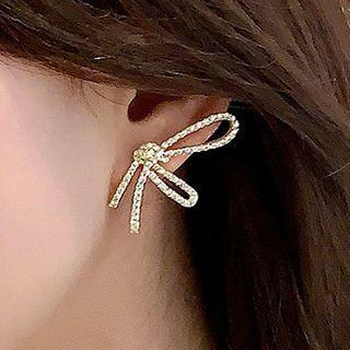Rhinestone Knot Earring 1 Pair - 925 Silver - One Size