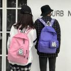 Nylon Backpack With Cat Print Pouch