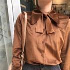 Bow Accent Velvet Shirt