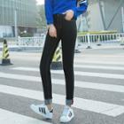 High-waist Cuffed Skinny Jeans