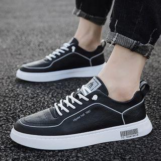 Faux Leather Bar Code Print Sneakers