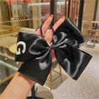 Bow Fabric Hair Tie Black - One Size