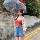 Flower Print Chiffon Light Jacket / Camisole Top