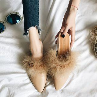 Pointy Toe Furry Flat Mules
