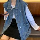Button-up Denim Vest Blue - One Size