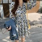 Floral Print Lantern-sleeve A-line Dress / Denim Jacket