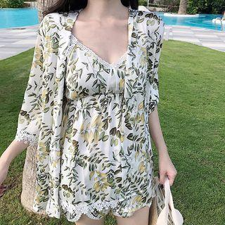 Floral Print Robe / Set: Floral Print Camisole Top + Shorts