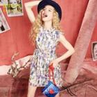 Bow-accent Printed A-line Dress