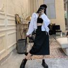 Plain Midi Fitted Skirt