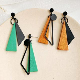 Non-matching Wooden Triangle Dangle Earring