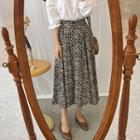 Patterned A-line Skirt Beige - One Size