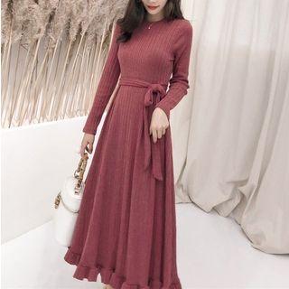 Long-sleeve Frill Hem Midi Knit Dress