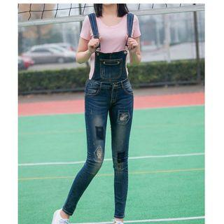 Distress Repaired Dungaree Jeans