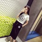 Set: Letter Short-sleeve T-shirt + Skirt