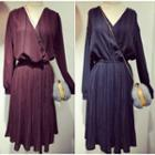 V-neck Long-sleeve Chiffon Dress
