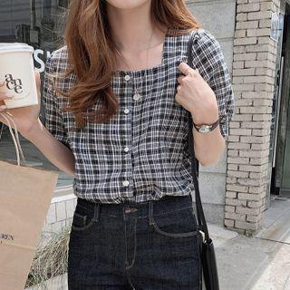 Elbow-sleeve Square-neck Plaid Blouse