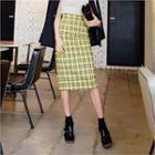 Check Midi Pencil Skirt