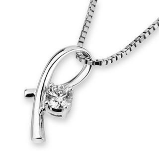18k White Gold Ribbon Diamond Solitaire Pendant (3/20 Cttw) (free 925 Silver Box Chain)