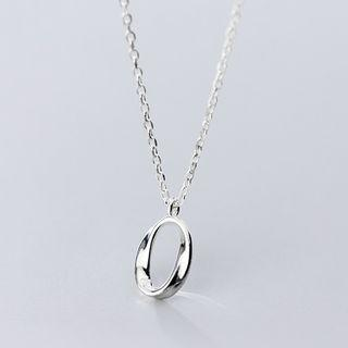 925 Sterling Silver Twisted Hoop Pendant Necklace S925 Silver - Necklace - One Size