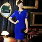 Rhinestone Short Sleeve Dress