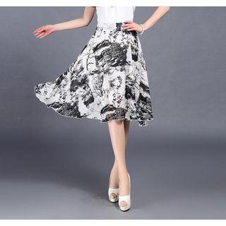 Printed Midi A-line Skirt