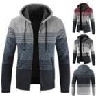 Color Block Hooded Knit Zip Jacket