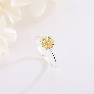 925 Sterling Silver Cz Flower Open Ring Rs538 - Silver & Gold - One Size