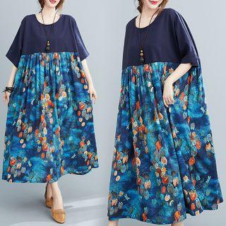 Short-sleeve Floral Print Panel Midi A-line Dress Floral - Navy Blue - One Size