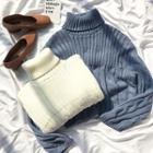 Plain Turtle-neck Cable-knit Sweater
