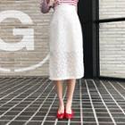 Slit-hem Laced Midi Skirt