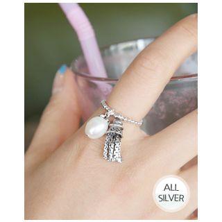 Faux-pearl Tassel Silver Ring