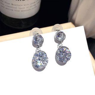 Rhinestone Dangle Earring 1 Pair - Steel Needle - Silver - One Size