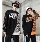 Couple Matching Plaid Panel Lettering Pullover