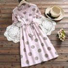 Short-sleeve Frill Trim Polka Dot A-line Midi Dress
