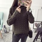 Faux Pearl Turtleneck Sweater
