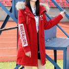 Furry Trim Lettering Hooded Parka