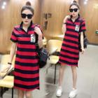 Applique Striped Polo Dress