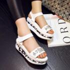 Jeweled Platform Flat Sandals