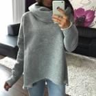 Asymmetric Turtleneck Plain Top