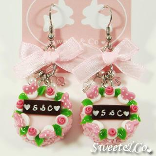 S&c Sweet Ribbon Pink Rose Cake Earrings